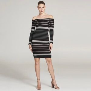Eliza J Off the Shoulder Stripe Sweater Dress
